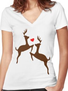 ۞»♥Adorable Jumping Deer Couple Clothing & Stickers♥«۞ Women's Fitted V-Neck T-Shirt