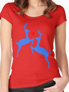 ۞»♥Adorable Jumping Deer Couple Clothing & Stickers♥«۞ Women's Fitted Scoop T-Shirt