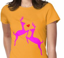 ۞»♥Adorable Jumping Deer Couple Clothing & Stickers♥«۞ Womens Fitted T-Shirt