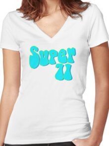 Super 71 - Blue Women's Fitted V-Neck T-Shirt