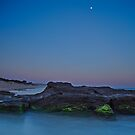 Caves Beach, Last Light by Moonlight by bazcelt