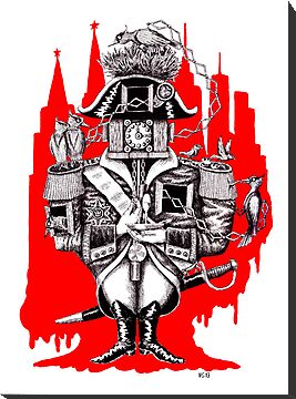 Imperial Clock surreal pen ink black white and red drawing by Vitaliy Gonikman