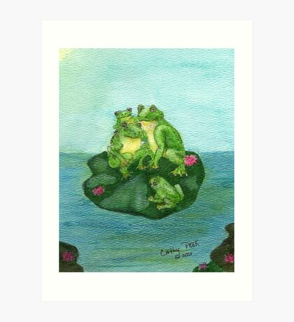 Frog Family Lily Pad Pond Wildlife Cathy Peek Art Art Print