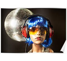 plastic headphone disco girl  Poster