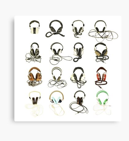 classic retro headphone collection Canvas Print