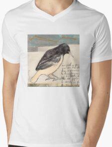 Black Bird Singing Mens V-Neck T-Shirt
