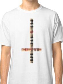 90'S Grunge Check Plaid Upside Down Antichrist Cross Classic T-Shirt
