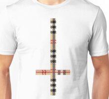 90'S Grunge Check Plaid Upside Down Antichrist Cross Unisex T-Shirt