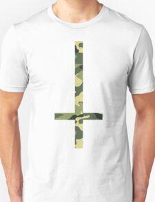 90's Grunge Upside Down Camouflage Cross  T-Shirt