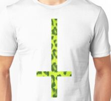 90's Neon Yellow Acid Leopard Print Upside Down Cross Unisex T-Shirt