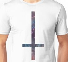 90's Grunge Nebula Space Galaxy Upside Down Cross Unisex T-Shirt