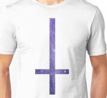 90's Grunge Purple Nebula Galaxy Space Upside Down Cross Unisex T-Shirt