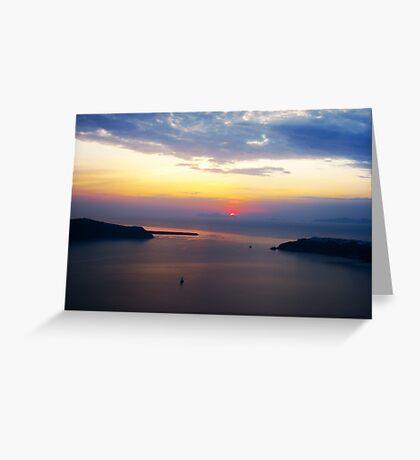 Sunset in Santorini Bay (Greece)  VRS2 Greeting Card