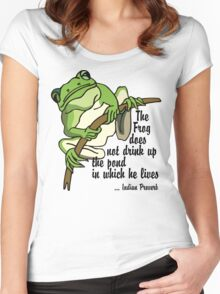 """Earth Day """"The Frog Does Not Drink Up The Pond In Which It Lives"""" Women's Fitted Scoop T-Shirt"""