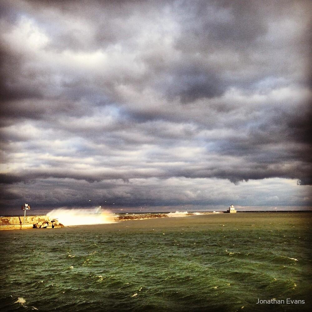 Lake Ontario break wall (b&w) by Jonathan Evans