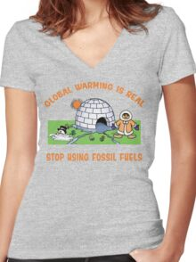 """Earth Day """"Global Warming is Real..."""" Women's Fitted V-Neck T-Shirt"""
