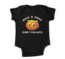 """Earth Day """"Give A Hoot Don't Pollute"""" Dark One Piece - Short Sleeve"""