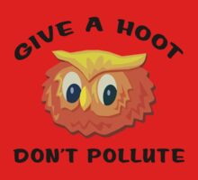 "Earth Day ""Give A Hoot Don't Pollute"" One Piece - Long Sleeve"