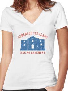 Vintage Alamo Has No Basement Women's Fitted V-Neck T-Shirt