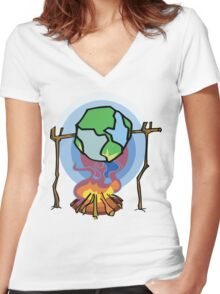 Global Warming Earth Day Women's Fitted V-Neck T-Shirt