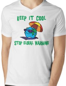 "Earth Day ""Keep It Cool - Stop Global Warming"" Mens V-Neck T-Shirt"