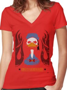 Donald Duck Bad Motherfucker Women's Fitted V-Neck T-Shirt