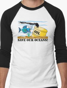 """Earth Day """"Save Our Oceans"""" Men's Baseball ¾ T-Shirt"""