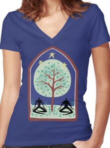"Earth Day ""Tree Spirit"" Women's Fitted V-Neck T-Shirt"