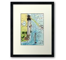 Cape Florida Lighthouse Nautical Chart Map Cathy Peek Framed Print