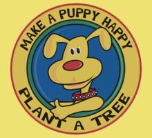 """Earth Day """"Make A Puppy Happy - Plant A Tree"""" Kids Clothes"""