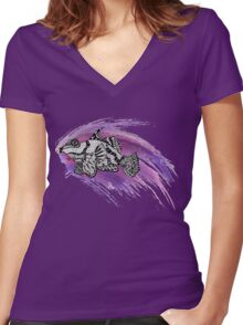 Fish & Watercolor Splash Women's Fitted V-Neck T-Shirt