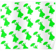 Mary Poppins Pretty in Green Pattern Poster