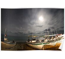 stars at night of the ocean, baja california sur, mexico Poster