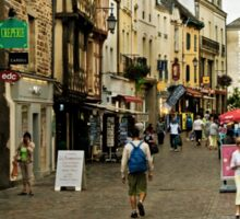 Cobblestone Street in Redon, Brittany Sticker