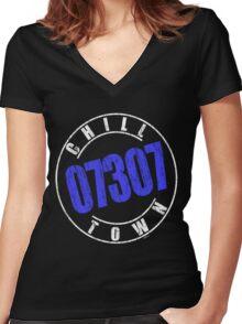 'Chilltown 07307' (w) Women's Fitted V-Neck T-Shirt
