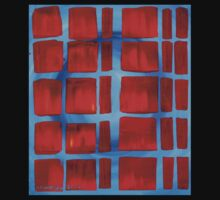 Red on Blue Squares Kids Tee