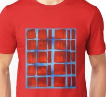 Red on Blue Squares Unisex T-Shirt