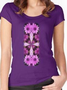 Colorful Purple Daisies Abstract Kaleidoscope Design Women's Fitted Scoop T-Shirt