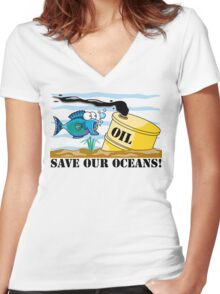 Earth Day Save Our Oceans Women's Fitted V-Neck T-Shirt