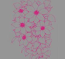 Pink Flowers - Gray by blaineweasleys