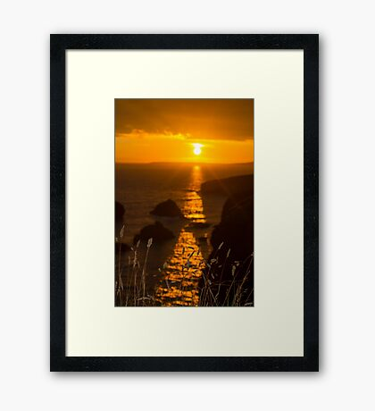 beautiful sunset over the coastal rocks with wild highl grass Framed Print