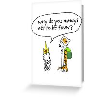 Calvin and Hobbe's Adventure Time Greeting Card