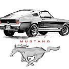 Mustang Drawing T Shirt by JohnLowerson