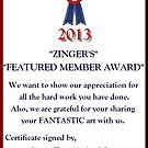 Certificate for ZINGER'S by Ann Warrenton