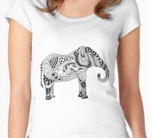 Elephant Drawing Women's Fitted Scoop T-Shirt