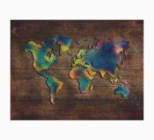 World Map wood Kids Tee