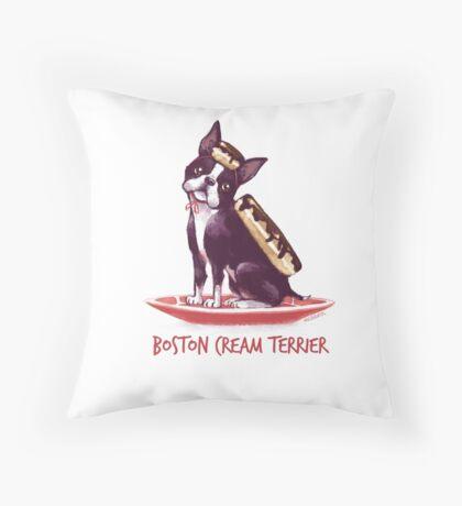 Boston Cream Terrier Throw Pillow
