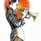 Boy playing the trumpet by alexvos