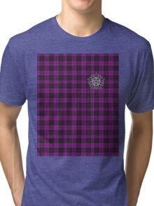 Supernatural Anti-possession symbol on PLAID in PURPLE Tri-blend T-Shirt