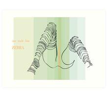 one line zebra Art Print